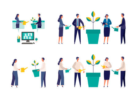 Metaphor of growth, support, assistance. Flat design vector illustration of business people. Concept for partnership.