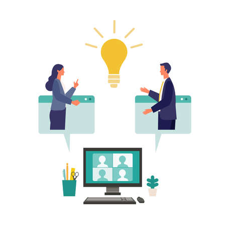 Metaphor of cooperation, create an idea, brainstorming. Flat design vector illustration of business people. Concept for partnership. Vettoriali