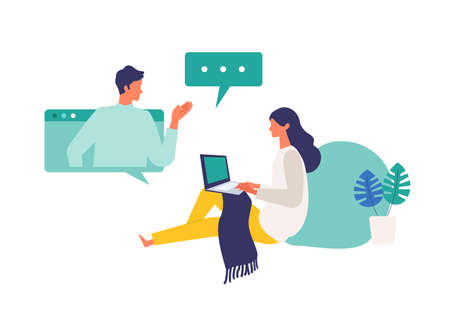 Concept for remote work, online class, teleconference. Vector illustration of people having communication via telecommuting system. Flat design vector illustration of talking people via online.