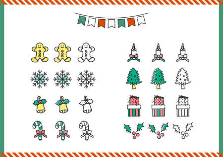 Vector set of Christmas icons. Christmas tree, candy cane and gift boxes. Flat cartoon colorful vector illustration. Illustration