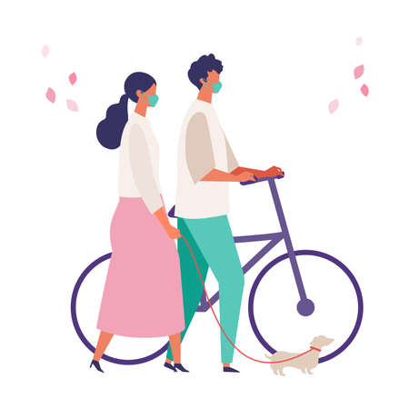 Men and women have a day off on new normal. Shopping, dating and walking. Flat cartoon colorful vector illustration. Vettoriali