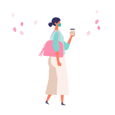 Women have a day off on new normal. Shopping and walking. Flat cartoon colorful vector illustration.