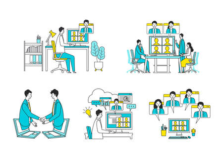 Telecommuting concept. Vector illustration of people having communication via telecommuting system. Concept for any telework illustration, video conference, workers at home. Flat design vector illustration of teleworking people.