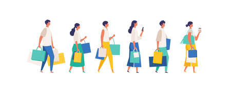 People carrying shopping bags at summer. Man and woman taking part in seasonal sale at store, shop, mall. Flat cartoon colorful vector illustration. Vettoriali