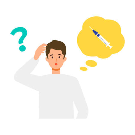 Man is thinking about vaccination. Concept for vaccination. Vector flat illustration.