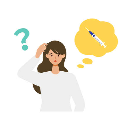 Woman is thinking about vaccination. Concept for vaccination. Vector flat illustration.