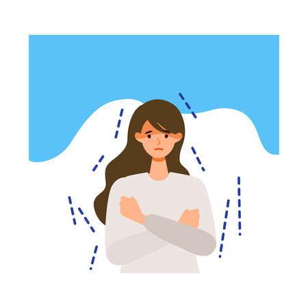 Woman shivering after getting her  vaccine. Concept for side effects of  vaccine. Flat vector illustration.