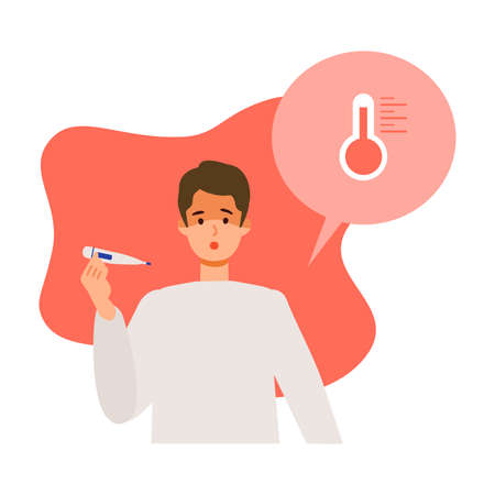 Man having fever after getting his  vaccine. Concept for side effects of  vaccine. Flat vector illustration.