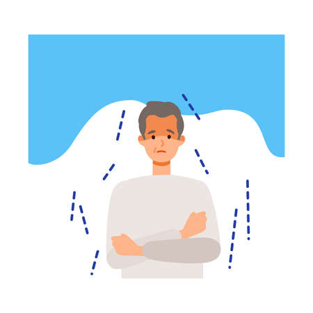 Elderly man shivering after getting his  vaccine. Concept for side effects of coronavirus vaccine. Flat vector illustration.