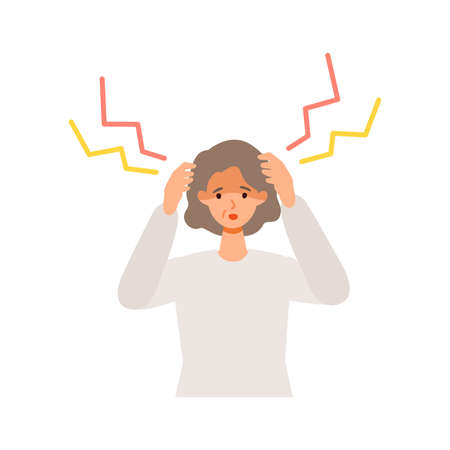Elderly woman having headache after getting her  vaccine. Concept for side effects of  vaccine. Flat vector illustration.