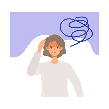 Exhausted elderly woman after getting her   vaccine. Concept for side effects of  vaccine. Flat vector illustration.