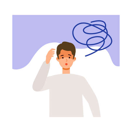 Exhausted man after getting his  vaccine. Concept for side effects of coronavirus vaccine. Flat vector illustration. Çizim