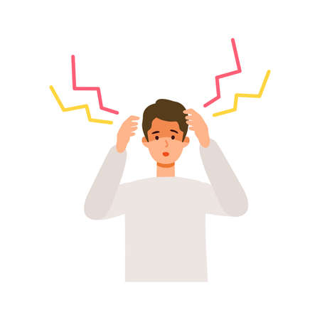Man having headache after getting his   vaccine. Concept for side effects of  vaccine. Flat vector illustration.
