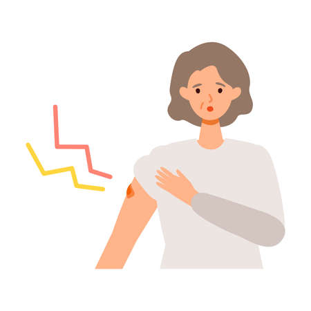 Elderly woman with arm  pain  after getting her   vaccine. Concept for  vaccination. Vector flat illustration.