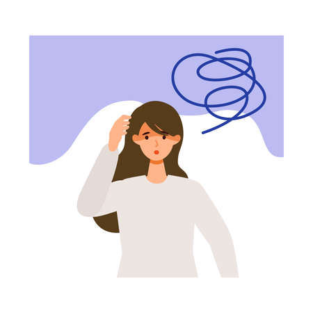 Exhausted woman after getting her vaccine. Concept for side effects of vaccine. Flat vector illustration. Vektoros illusztráció