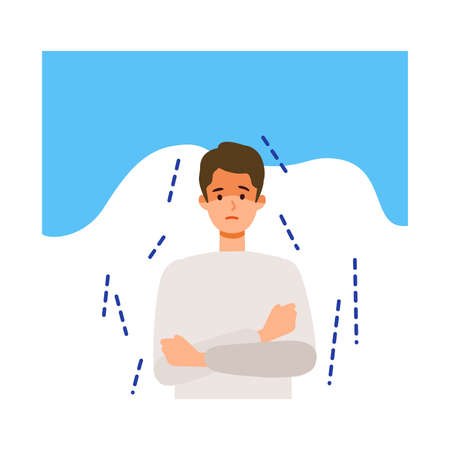 Man shivering after getting his  vaccine. Concept for side effects of  vaccine. Flat vector illustration. Çizim