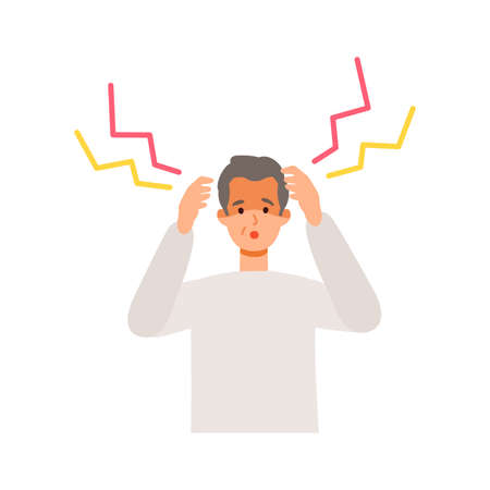 Elderly man having headache after getting his   vaccine. Concept for side effects of  vaccine. Flat vector illustration. Çizim