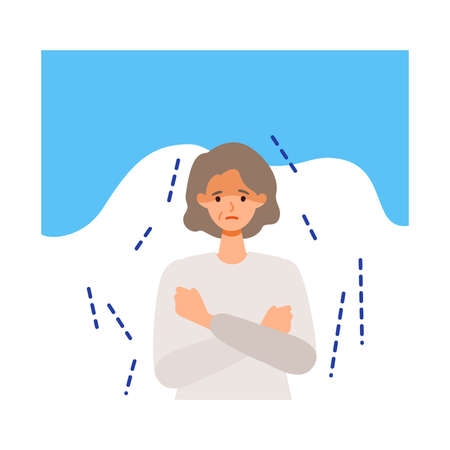 Elderly woman shivering after getting her   vaccine. Concept for side effects of  vaccine. Flat vector illustration.