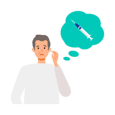 Elderly man is thinking about vaccination. Concept for vaccination. Vector flat illustration.