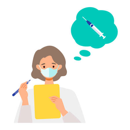Concept for  vaccination. Woman have a seat and fill out the medical questionnaire. Vector flat illustration.