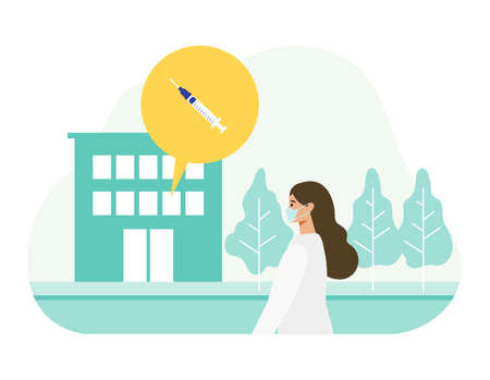 Concept for  vaccination. Woman going to vaccination site. Vector flat illustration.