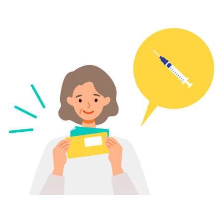 Concept for  vaccination. Woman receiving information letter for vaccination. Vector flat illustration.
