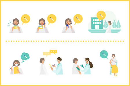Concept for  vaccination. Doctor makes an injection of flu vaccine to woman. Vector flat illustration.