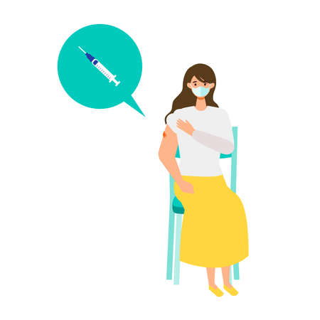 Concept for  vaccination. Woman waiting after coronavirus vaccination for observations. Vector flat illustration. Çizim