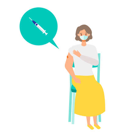 Concept for  vaccination. Woman waiting after  vaccination for observations. Vector flat illustration.