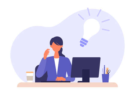 Thinking businesswoman and light bulb sign. Problem solving concepts. Vector illustration of solution.