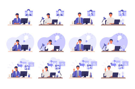 Telecommuting concept. Vector illustration of people having communication via telecommuting system. Concept for video conference, workers at home or office. Çizim