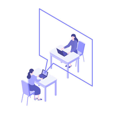 Telecommuting concept. Vector illustration of people having communication via telecommuting system. Concept for video conference, workers at home. Flat design vector illustration of teleworking people. Çizim