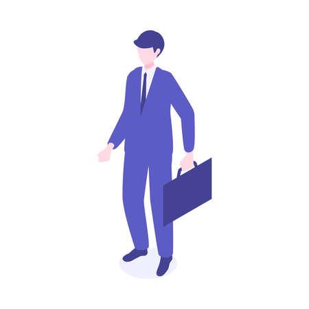 Isometric walking businessman character design. Vector illustration in flat style. Çizim