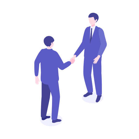 Illustration of isometric working business person. Men shaking hands. Flat cartoon colorful vector illustration.