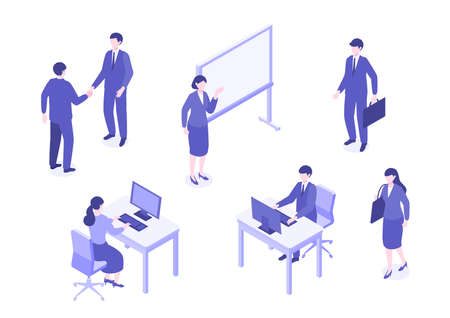 Business person performing different activities. Talking, walking and giving a presentation. Isometric colorful vector illustration. Çizim