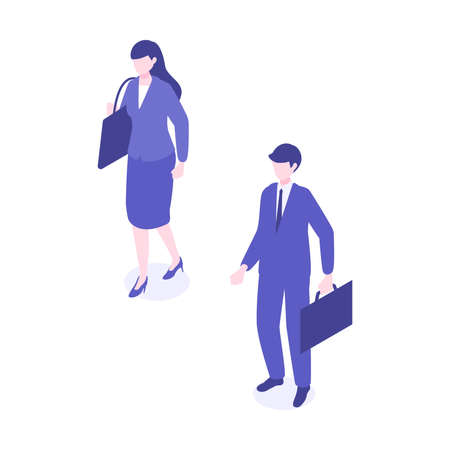 Isometric walking businessman character design in different poses. Vector illustration in flat style.