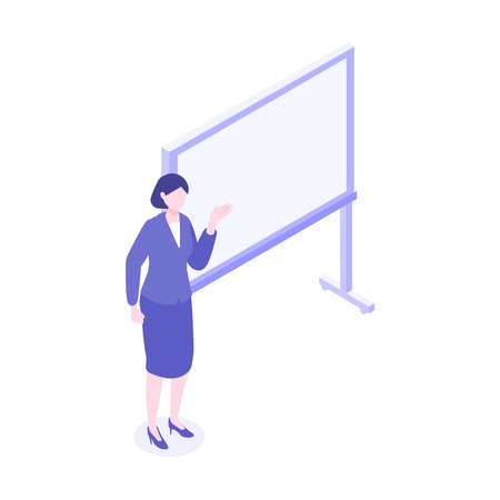 Isometric Illustration of working business person. Woman having presentation. Flat cartoon colorful vector illustration.