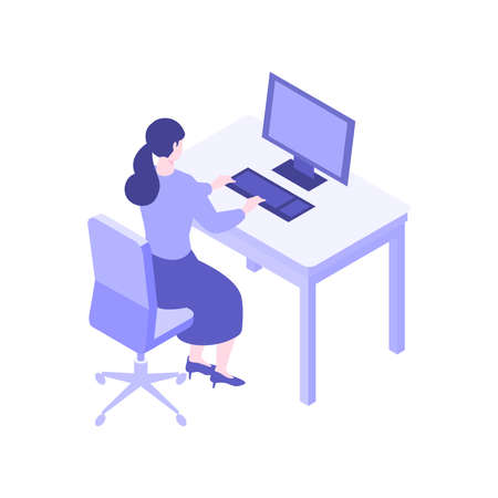 Isometric desk working concept. Concept for office work, back office. Flat design vector illustration of paper working people. Çizim
