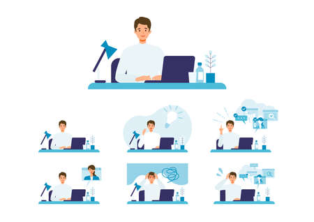 Telecommuting concept. Vector illustration of people having communication via telecommuting system. Concept for video conference, workers at home or office. Illusztráció