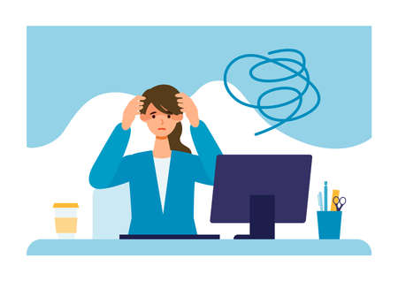 Businesswoman suffering from his depression. Clinical Depression concept. Vector illustration of people became depressed from overwork.