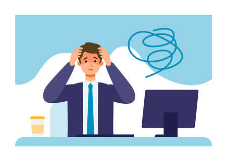 Businessman suffering from his depression. Clinical Depression concept. Vector illustration of people became depressed from overwork.