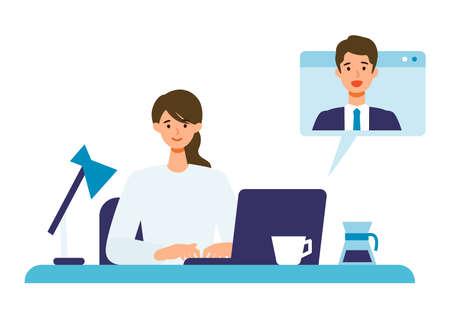 Telecommuting concept. Vector illustration of businesswoman having communication via telecommuting system.
