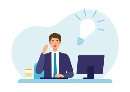 Thinking businessman and light bulb sign. Problem solving concepts. Vector illustration of solution. Çizim