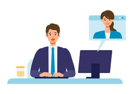 Telecommuting concept. Vector illustration of businessman having communication via telecommuting system.