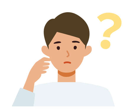 Man cartoon character. People face profiles avatars and icons. Close up image of asking man. Vector flat illustration.