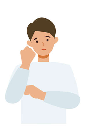 Man cartoon character. People face profiles avatars and icons. Close up image of confused man. Vector flat illustration.