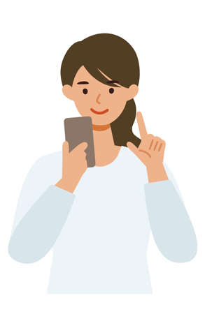 Woman cartoon character. People face profiles avatars and icons. Close up image of Woman using smartphone. Vector flat illustration. Illusztráció