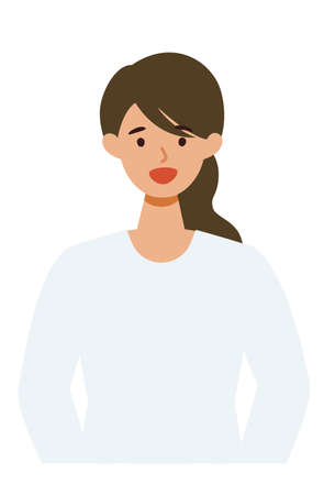 Woman cartoon character. People face profiles avatars and icons. Close up image of smiling Woman. Vector flat illustration. Illusztráció