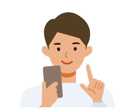 Man cartoon character. People face profiles avatars and icons. Close up image of man using smartphone. Vector flat illustration.