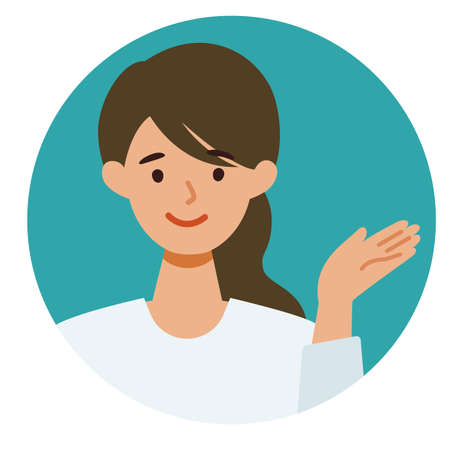 Woman cartoon character. People face profiles avatars and icons. Close up image of pointing Woman. Vector flat illustration. Illusztráció